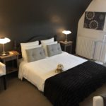One of the rooms at La Belle Demeure Bed and Breakfast. A large 'Confort' bedroom, 22m² in size, bed 160 by 200 cm. In the heart of the Périgord Noir, Dordogne near to Sarlat. Pleasantly furnished en-suite guestrooms with comfortable beds, covered with 100% cotton Seersucker linen. Bedrooms. Table d'hôtes Evening Meal and Swimming Pool. For our nightly tariff, please look at our website.